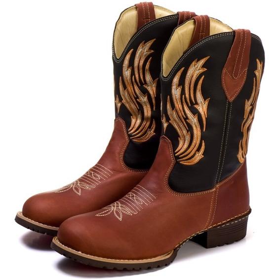 Bota Cano Longo Bico Redondo Masculina 100% Couro Texana