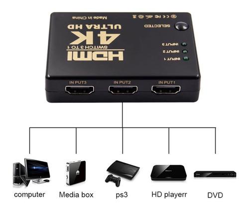 Imagen 1 de 6 de Switch Hdmi Selector 3 Entradas A 1 Salida + Control Remoto
