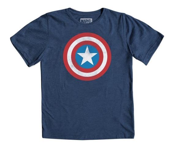 Playera Capitán América Logo Niño Máscara De Látex Marvel