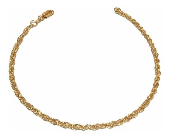 Pulseira Ouro 18k Feminina Cordão 18cm 2mm