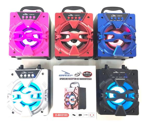 Kit 2 Unidades Caixa Bluetooth 10w Rádio Fm Usb Sd 3103