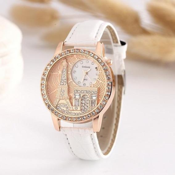 Relógio Feminino Branco Paris De Charmoso Couro Mulheres