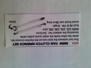 A 886 Bmw Fan Clutch Wrench Set