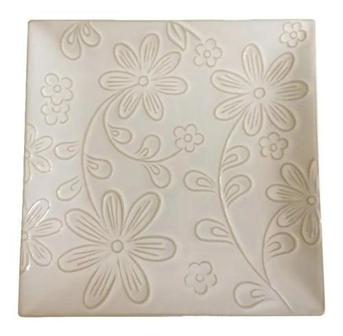 Imagen 1 de 1 de Plato Playo Cuadrado Ceramica Natural Flores Oferta Ult Unid