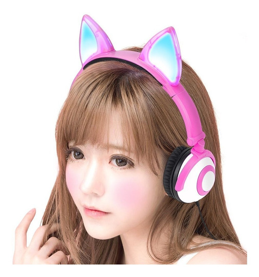 Fone De Ouvido Headphone Orelhas De Gato Gatinho Cosplay Led