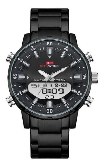 Relógio Kat-wach Masculino Anadigi Kt1815 Preto
