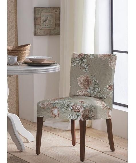 Capa Cadeira Malha Suplex Kit 6 Unidades Cor Flor Dália