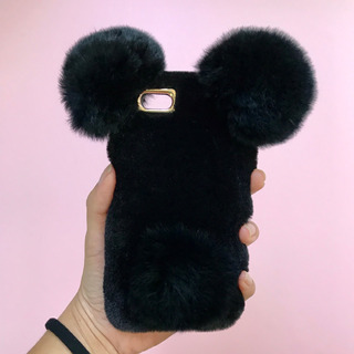Funda iPhone Mujer Case Peluche Oso Negro Cute Chinchilla