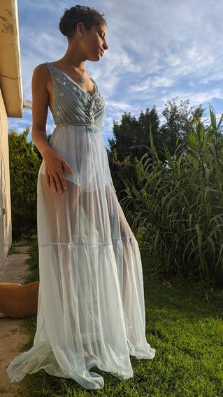 Vestido De Fiesta, Tul Drapeado Color Azul Cielo