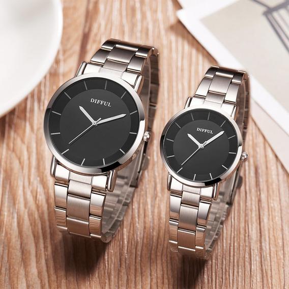Relógio De Pulso Minimalista Para Homens Mulheres Preto