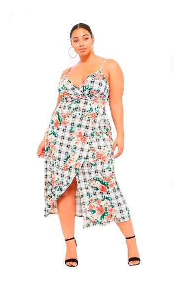 Vestido Plus Size Floral & Plaid Faux-wrap Forever 21 T Esp