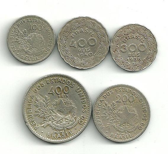 400 Réis 1901 E 1940 + 1 Real Vinícius + 36 Moedas Nacionais