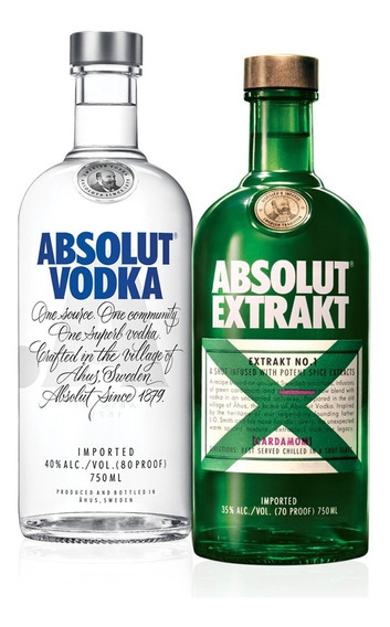 Kit Vodka Absolut Original 750ml + Absolut Extrakt 750ml