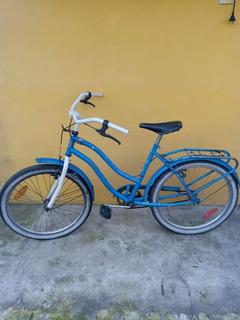 Bicicleta Azul Rodado 26 Mujer Usada Con Asiento