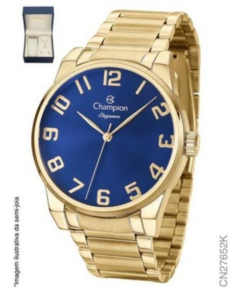 Kit Relógio Feminino Champion Cn27652k Analógico Dourado