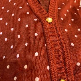 Blusa De Frio Cardigan Suéter Lã Tricô Estampada Bolinha