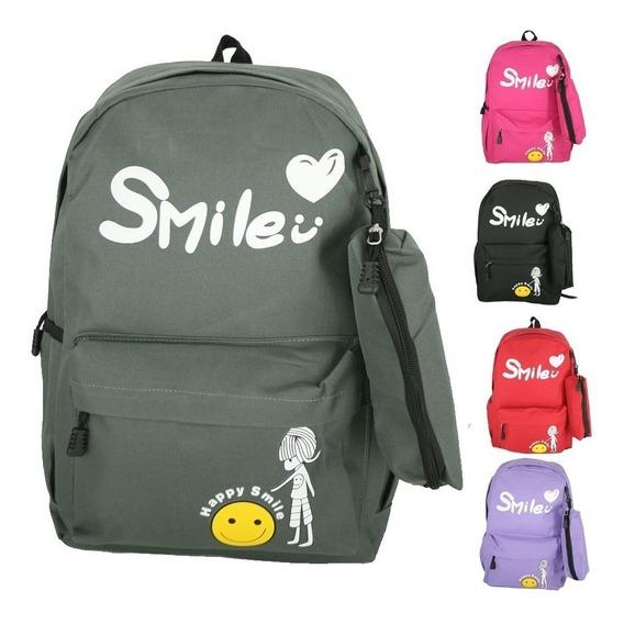 Kit Mochila Teen Notebook + Estojo Smile