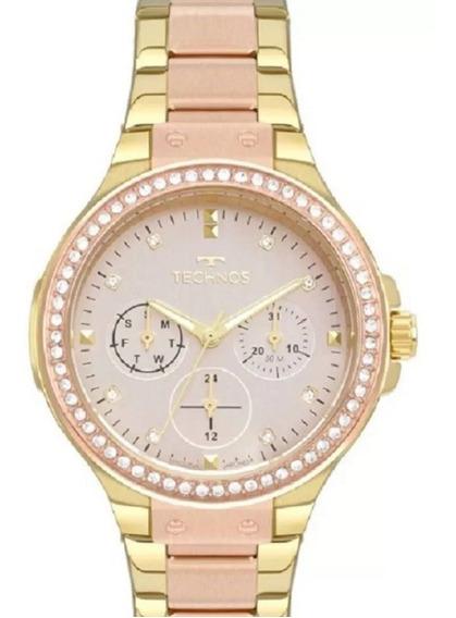 Relógio Technos Feminino Bicolor Dourado E Rosê 6p29aks/5j