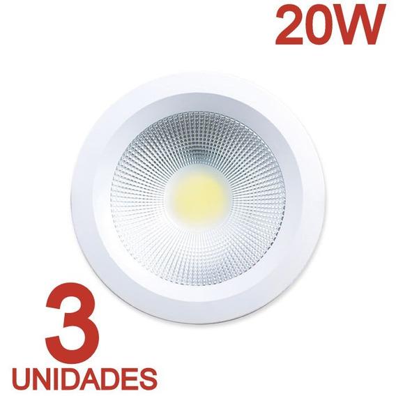 Plafon Embutir Redondo 20w Cob Branco Quente Kit C/3