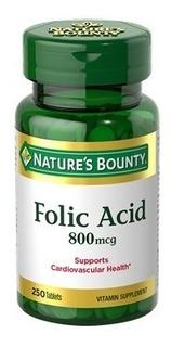 Ácido Fólico - Importado (800mcg P/dose) - 250 Comp