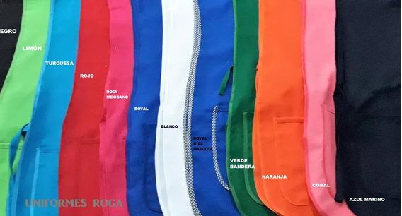 Mandil Casaca 2 Bolsas Varios Tonos 12 Pz.uniforme Con Envio