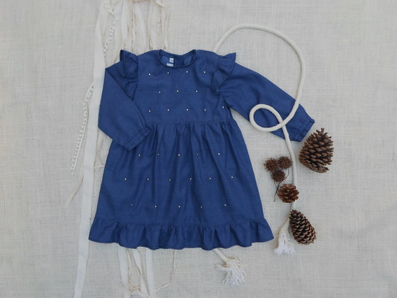 Vestido De Denim Para Nena Con Tachitas