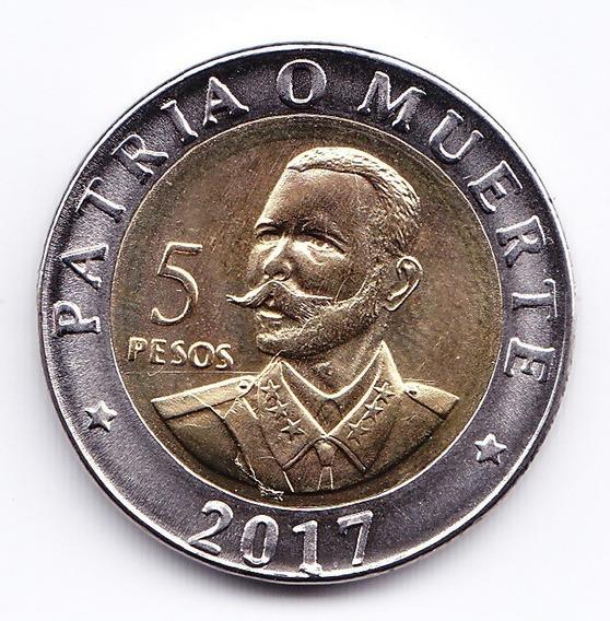 Cuba Moneda Bimetalica 5 Pesos 2017 Aniv 120 Muerte De Maceo