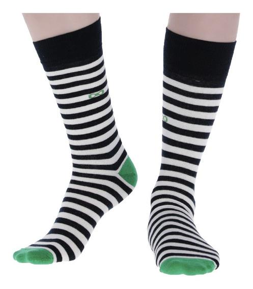Calcetines Hombre Corda Lineas Verde Menta Casual Crd-58