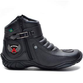Bota Motociclista Em Couro Semi Impermeável Atron Shoes 271