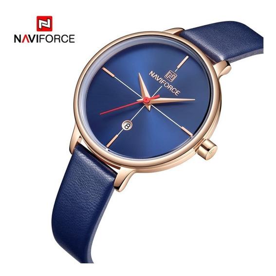 Relógio Feminino Naviforce 5006 Quartz Slim Azul Novo