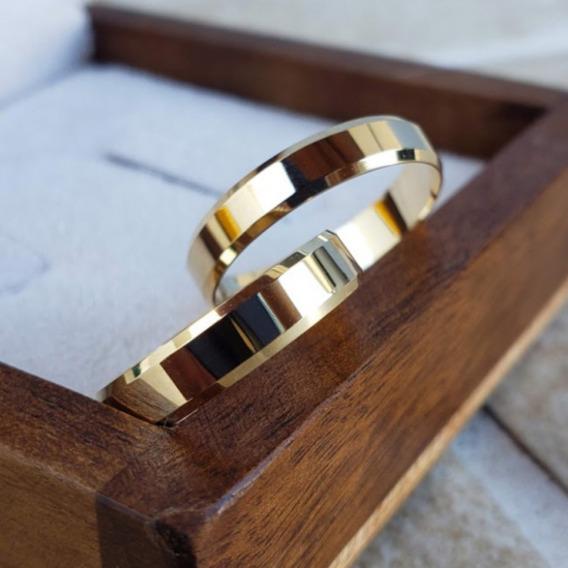 Par De Alianças Em Ouro 18k Com 5mm Promoção Casamento
