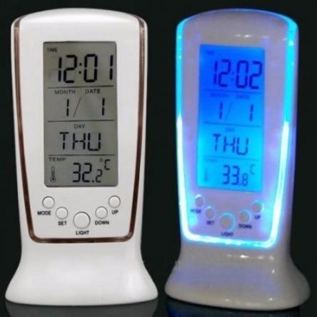 Reloj De Mesa Digital, Alarma, Termometro Calendario Blanco