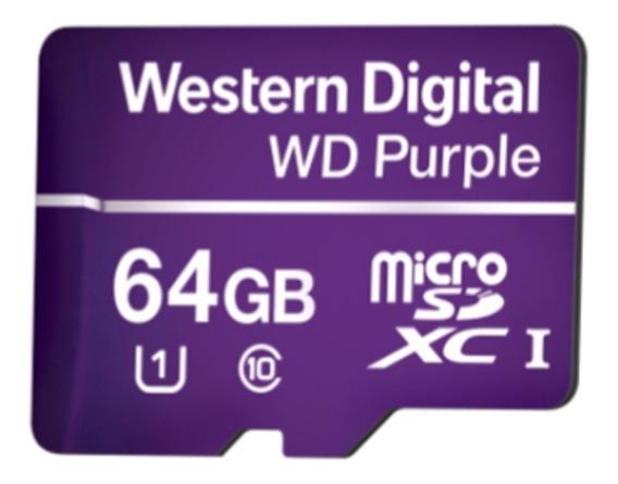 Cartao De Memoria Microsd 64gb Wd Purple Mibo Para Câmera