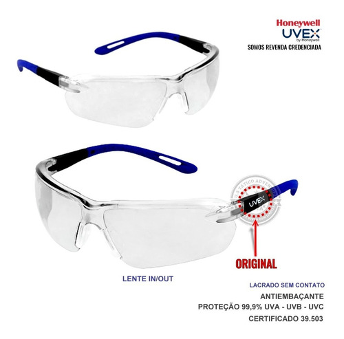 Óculos De Proteção Uvex Gama Lente In/out Anti-embaçante