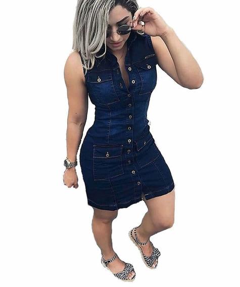 Vestido Jeans Feminino Curto Botões Lycra Verão