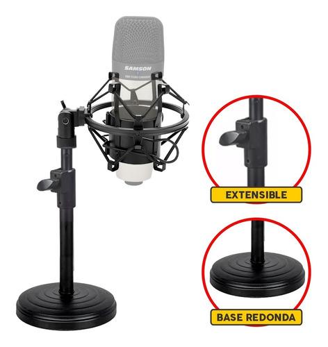 Pie Microfono De Mesa Con Araña Shockmount Regulable