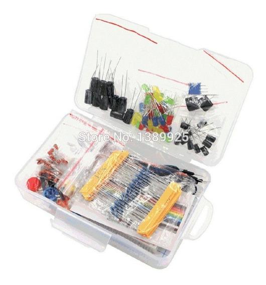 Kit Arduino Iniciante Resistor/led/capacitor/jumper + Caixa