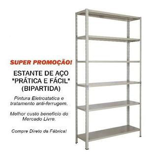 Estante Aço Bipartida, Cinza 30cm Prática & Fácil C/06 Prat.