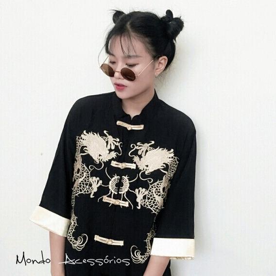 Kimono Casaco Unissex Dragão Dourado Chinês - Frete Grátis