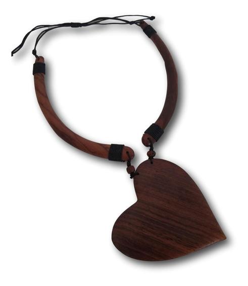 Colar Coração De Madeira Tamanho Ajustável: Ref. 7031