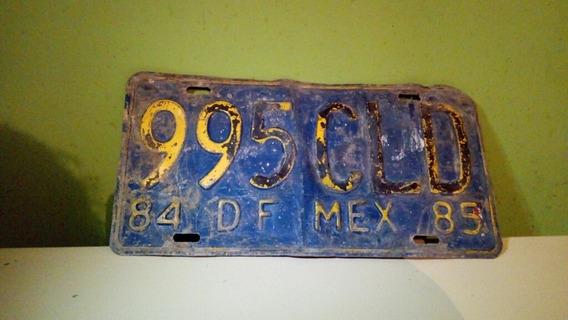 Placa De Carro Antigua Mexico Df 84-85 Matricula Cdmx