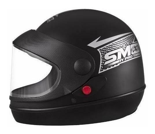 Capacete Moto Preto Fosco Semi Automtico N 56 Pro Tork 11455
