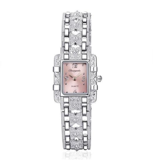Relógio Feminino Pequeno Pulseira Prata Fundo Preto/rosa/ver