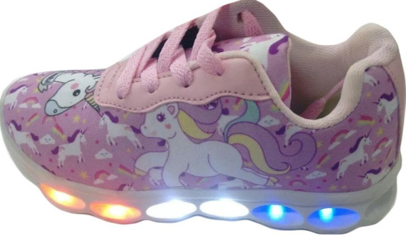 Unicornio Tenis Infantil Bebê Luzes 6 Leds Princesa