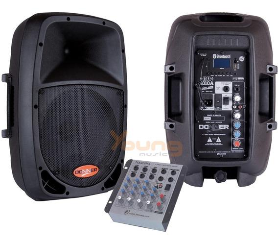Kit Caixa Ativa E Passiva 10 Pol. Bluetooth Mesa Som 4c Nca