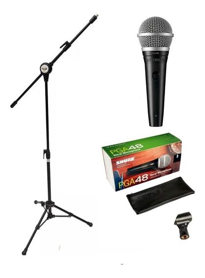 Microfone Shure Pga48 De Fio Original + Pedestal Vector