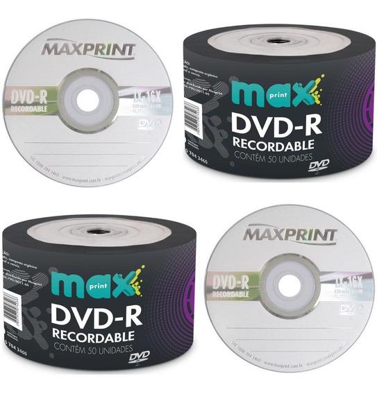 100 Midia Dvd-r Virgem Maxprint Original Gravável Com Logo 16x 4.7gb 120min Lacrado Promoção