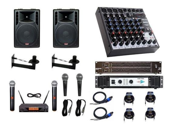 Kit Igreja 2cx12, Mesa 8c, Equalizador, Potencia + Microfone