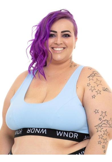 Top Sutiã Plus Size Wonder Size Elástico Azul Claro