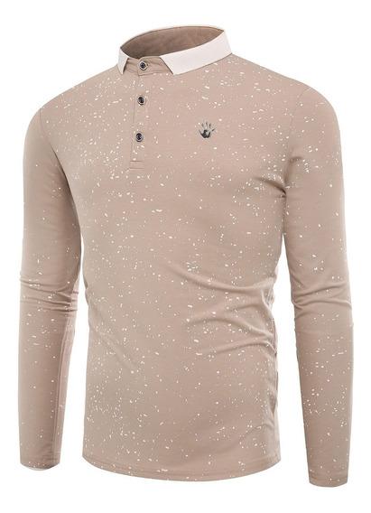Polo Collar Salpicadura Paint T Shirt